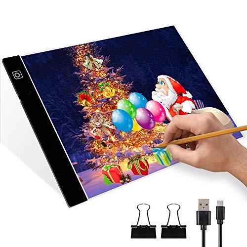 Mesa de Luz Dibujo LED A4 Tableta de Luz Estante de Luz A4 con 3 Niveles de Brillo Ajustables Luz de Dibujo LED A4 Ultradelgada con Cable USB para Dibujar Bocetos de Caligrafía de Arquitectura (A4)