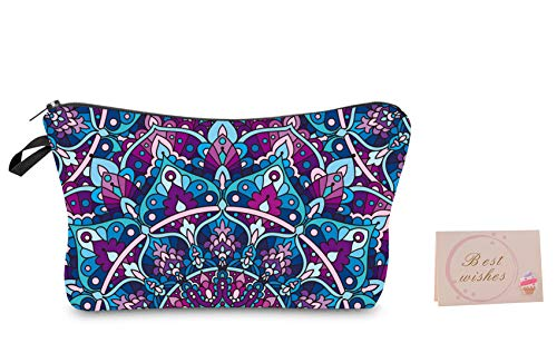 Flowers Printed Makeup Bag,Cosmetic Lipstick Cute Pouch Toiletry Travel bag and Brush Organizer Purse Handbag For Women with Best Wishes Festival Greeting card Yanz