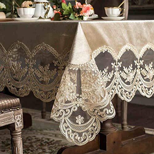 YQ QY Mantel Marca Textiles for El Hogar Elegante Cordón Manteles Moderno Estilo Europeo Antiguo Bordado Blanco Comedor Sala Festival Partido QY Mantel (Color : T5, Size : 150 * 150cm)