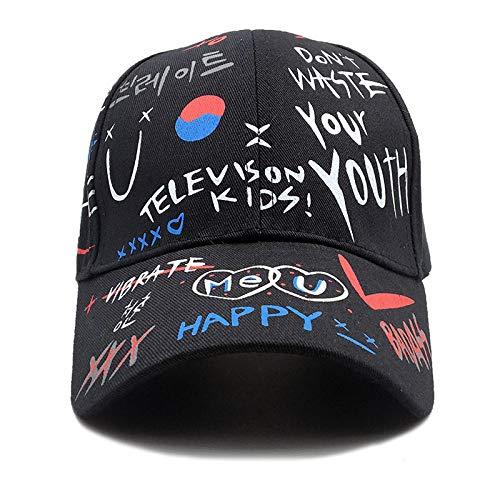 SKGQZD Gorras de Pareja de Padres e Hijos para niños, Gorras de béisbol Personalizadas con Amor de Graffiti, Sombreros para el Sol al Aire Libre-Negro_Adulto 56-59 CM
