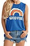 Womens Tank Tops Summer Good vibers Letter Printed Sleeveless Tshirts Casual Loose Tunic Blouses (Blue, M)