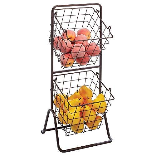 mDesign Estantería de cocina con 2 niveles – Cesta metálica portátil para frutas, verduras y otros alimentos – Para usar también como caja organizadora en el baño o en el garaje – color bronce
