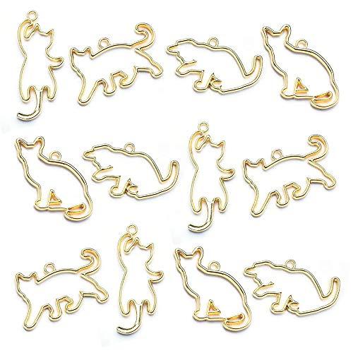 レジン枠 空枠 12個セット 4種 レジンフレーム かわいい猫 ネコ から枠 カン付き ペンダント 手作り ハンドメイド アクセサリーパーツ ゴールド