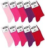 Mat & Vic's Calcetines Clásicos de Vestir para Hombre y Mujer, Algodón, Certificado Oeko-Tex 100, cómodos (10 pares, Berry Colors, UK 4-5.5 / EU 35-38)
