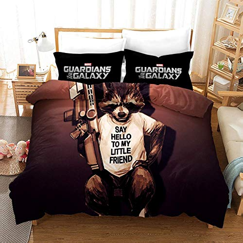 695 Duvet Cover Sets 3D Guardians Of The Galaxy Printing Cartoon Bedding Set With Zipper Closure 100% Polyester Gift Duvet Cover 3 Pieces Set With 2 Pillowcases B-EU Super King102*86'(260x220cm)