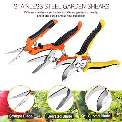 3 Pack Garden Pruning Shears Stainless Steel Blades Handheld Pruners Set with Gardening Gloves