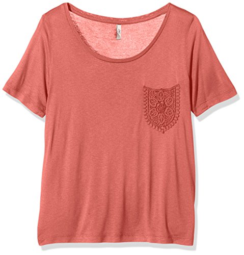 ONLY Damen onlIDA SS Pocket TOP ESS T-Shirt, Rosa (Faded Rose), 38 (Herstellergröße: M)
