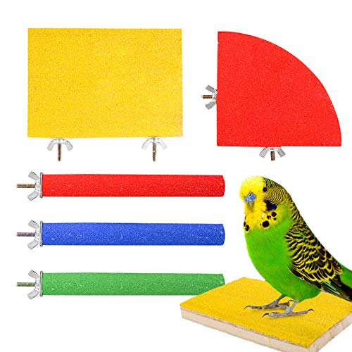 Heyu-Lotus 5 Pack Bird ParrotPerches, Natural WoodBird Perch Stand Platform Paw Grinding StickSet Bird Cage Accessories for Small Parakeets, Cockatiels, Budgies, Conures