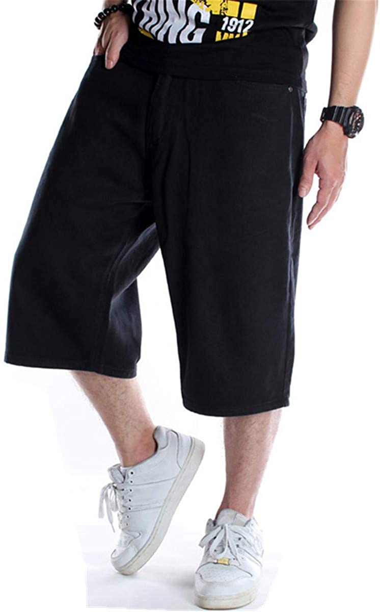 QBO Men's Shorts Jeans Relaxed Fit Hip Hop Denim Shorts Work Baggy Short Plus Size
