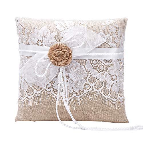 Amajoy iuta cuscino portafedi, Con pizzo e fiore a nastro, 19 cm x 19cm