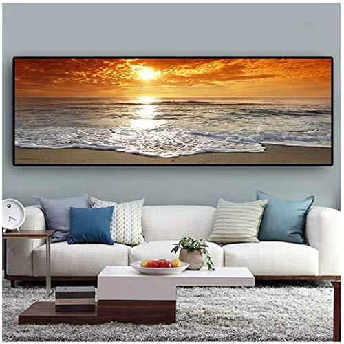 Atardeceres, carteles e impresiones de paisajes naturales de la playa del mar, lienzo, pintura, panorama, escandinavo, cuadro artístico de pared para sala de estar, 50x150cm (20x59 in)