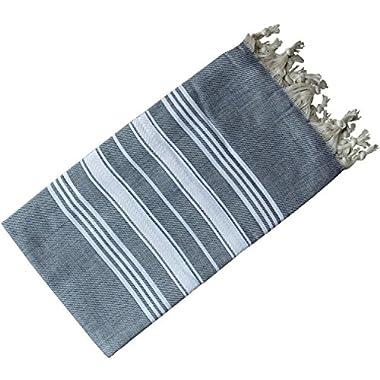Dandelion - Basic Pattern - Naturally-Dyed Cotton Turkish Towel Peshtemal - 71x39 Inches - Dark Blue