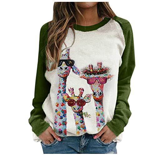 Hemden FüR Frauen Casual Loose Fit Tunika Tops Damen Loose Crewneck Mode Animal Print Langarm Pullover Sweatshirt(#08,S)