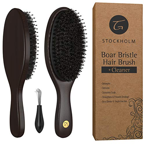 Hair Brush for Men and Women - Mixed Boar Bristle Hairbrush with Added Detangling Pins for Optimally Getting Natural Oils Throughout All Hairs and Stimulating Scalp for Soft Hair - Stylist Recommend