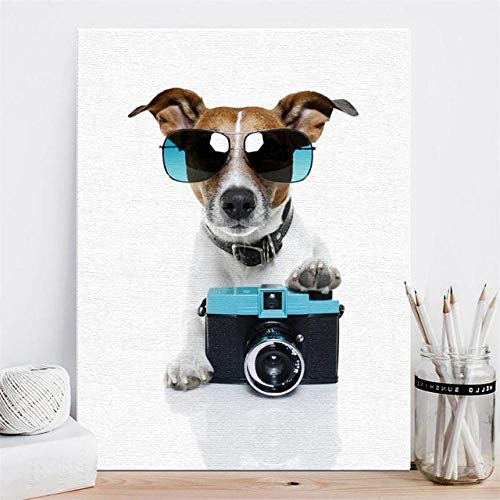 Hipster-Welpe mit Sonnenbrille und Kamera, Leinwandplakat der nordischen Kunst, Wohnzimmerdekoration, rahmenlos-50x70cm