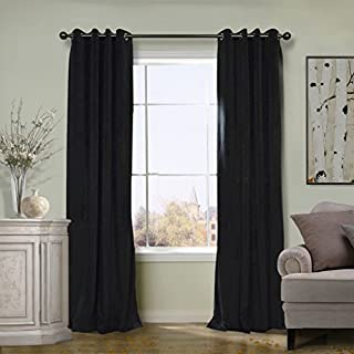 COFTY Solid Matt Luxury Heavyweight Velvet Curtain Drape with Blackout Thermal Lining Warm Black 50Wx84L Inch(set of 2 panels) - Nickle Grommet