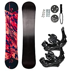 All-Mountain Style Snowboard Set – Lightweight Rig with a Medium Flex - Durable Gloss Finished Top-Sheet Paired with Rigid Snowboard Bindings made of Injection Molded Polyethylene Snowboard Shape -Twin Directional (Symmetric) Tip and Tail, Hybrid Pro...
