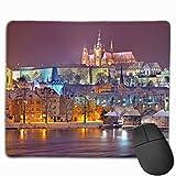 Praga noche de invierno nieve castillo de praga ciudad alfombrilla de ratón para juegos alfombrilla de ratón rectangular personalizada alfombrilla de ratón para juegos de computadora goma antideslizan