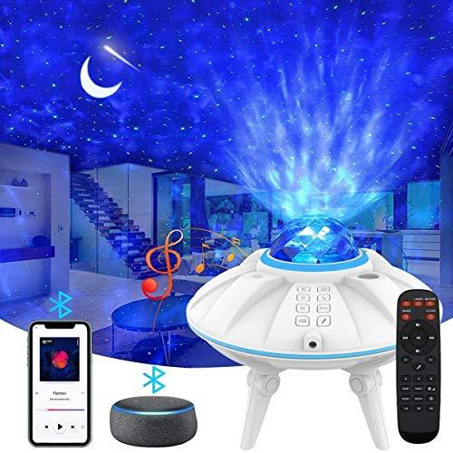LED Sternenhimmel Projektor, ZumYu Wasserwellen Sternenlicht Projektionslampe, Ferngesteuerte Nachtlichter, Farbwechsel Musikspieler mit Bluetooth & Timer, für Kinder Erwachsene Zimmer Dekoration