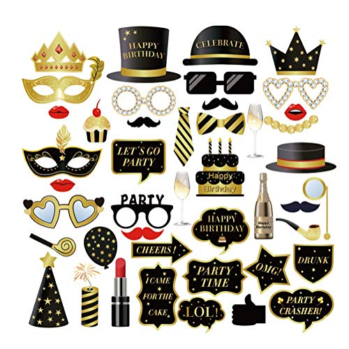 Dusenly 44 Piezas accesorios de Fotomatón de Cumpleaños Kit de Utilería Fotográfica de Fiesta de Cumpleaños de oro Negro Divertido para Decoración de Fiesta de Cumpleaños de 16,  18,  21,  30,  40,  50,  60
