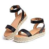 Sandalias Mujer Plataforma Alpargatas Cuña Verano Zapatos de Tacón Punta Abierta Comodas Vestir Correa Tobillo Hebilla Negro-1 39 EU