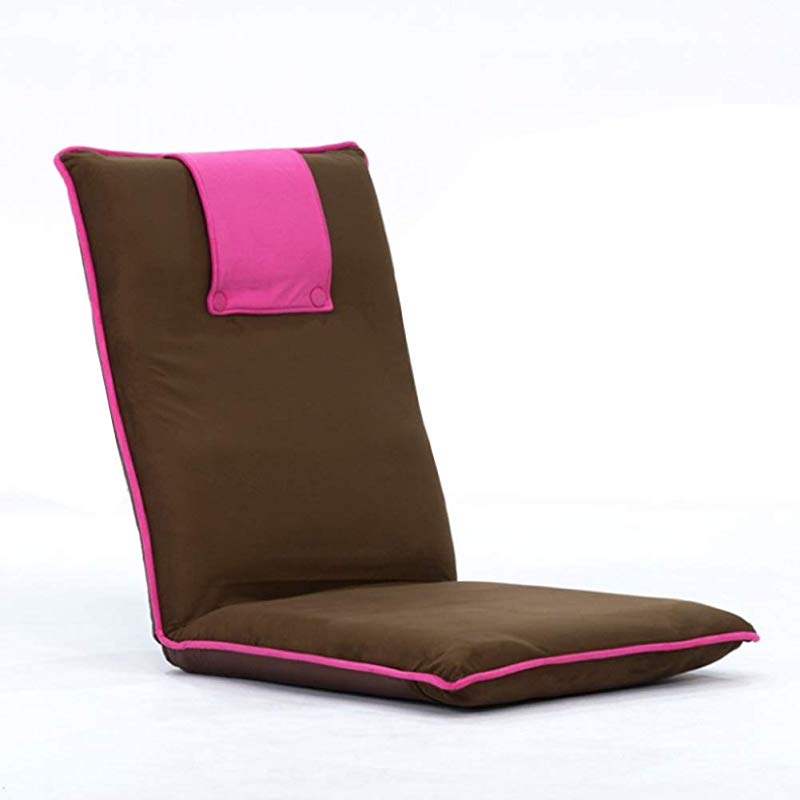 YEARLY Japanese Floor Chair Padded Semi Foldable Folding Chair 6 Bad Request Adjustable Backrest Lazy Sofa Tatami Bay Window Legless Chair Pink 55x55x60cm 22x22x24inch