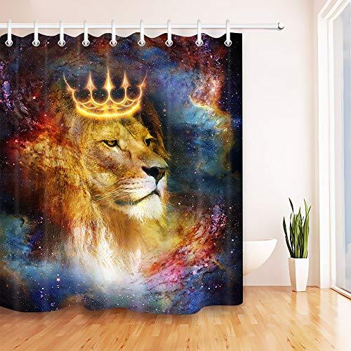 Cortina de chuveiro LB Universe Galaxy Lion Hippie Boêmio Leão Africano Rei no Céu Estrelado Impressão artística Funny Animal Cortina de Chuveiro para Crianças, 198 x 182 cm Tecido à prova d'água com 12 ganchos
