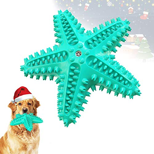 Sinrox Dog Toy Chewer Toothbrush, Squeaky Teeth Cleaning Dental Care Brush Interactive, New Starfish Design Chewer for Aggressive Dog Small Medium Large