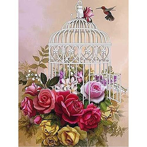 TFjXB 5D DIY Diamond Painting Full Round Drill'Bird cage Flowers' Embroidery Cross Stitch Gift Home Decor Gift WG1233 50x60cm