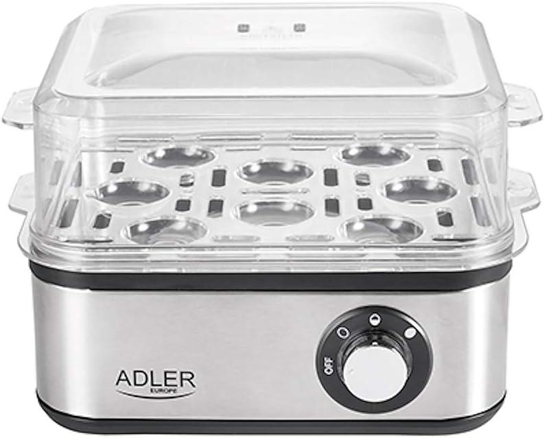 Adler AD-4486 Cuece Eléctrico para 8 Huevos,Acero Inoxidable, Ajuste de Cocción, Protección por sobre Calentamiento, 800W, Libre de BPA