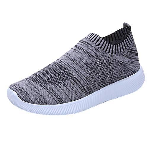 YWLINK Damen Socken Schuhe Outdoor Schuhe Freizeit Slip On Bequeme Sohlen Sports Licht Atmungsaktiv Mesh Sneakers Laufschuhe Turnschuhe Fitnessschuhe Bequeme Schuhe(Grau,40 EU)