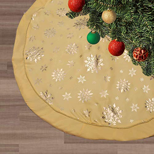 wlflash Christmas Tree Skirt 48 inches Snowy Pattern Xmas Tree Skirt for Christmas Tree Decorations Yellow Color Indoor Outdoor Decor (Triple Layer-Butter Yellow)