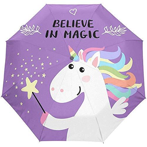Leuke droom paard paars auto open paraplu zon regen paraplu anti-UV vouwen compacte automatische paraplu
