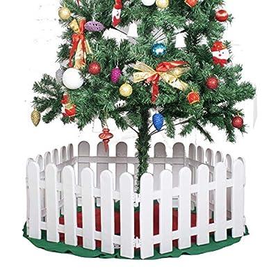 Wareorigin 5 Pcs White Plastic Fence Christmas Xmas Tree Wedding Party Decoration Miniature Indoor Garden Border Grass Lawn Edge Fence