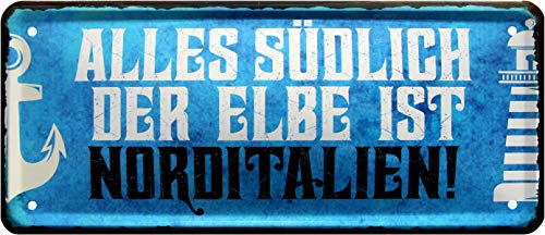 Rahmenlos 1349 Plaque métallique décorative Motif Elbe ist Norditalien 28 x 12 cm