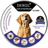 DEWEL Collar Antiparasitos Perro/Gato contra Pulgas,Garrapatas y Mosquitos,Tamaño Ajustable e Impermeable para Mascota Pequeño Mediano Grandes