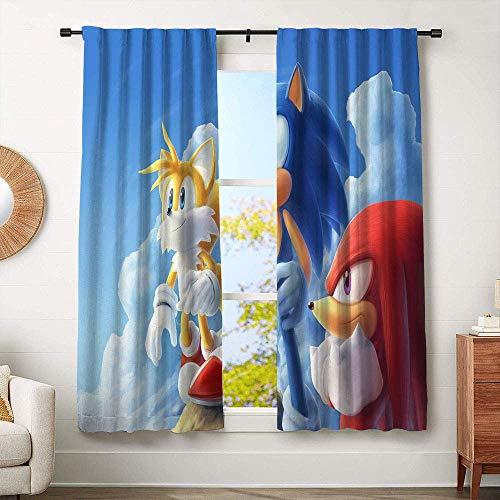 Hinyast Sonic The Hedgehog Blaze The Cat Cortinas para sala de estar infantil, cortinas opacas para ventana, cortinas decorativas de 52 x 63 pulgadas
