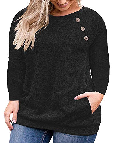 VISLILY Women's Plus Size Casual Blouse Shirts Loose Tunic Tops Long Sleeve Black 18W