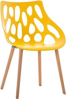 CLP Chaise Retro Hailey en Plastique - Chaise Design à 4 Pieds en Bois d'Hêtre - Hauteur de l'Assise 44 cm et Dossier Larg...