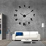 EPSMK Horloge Murale sans Cadre Grande 3D DIY 1 Pièce Joueurs De Football Grande Horloge Murale sans Cadre Murale Géante Montre Sport Miroir Wall Sticker Rugby Fans Cadeau 47 inch Noir