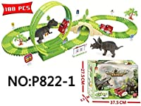 DIY恐竜鉄道車両玩具セットは、子供のための鉄道車ビルディングブロック恐竜のギフトを組み立て. (Type 2)