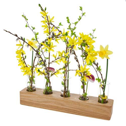Blumenvase mit Reagenzglas aus Holz | Design Vase Glas Blume Blumen Ständer Massivholz | klein modern als Tischdeko Deko Dekoration Geschenk Gestell Natur Tischvase (Eiche - 30cm - 5er)