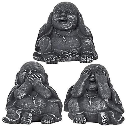 Murago 3er Set Buddha Deko Figuren Buddah Figur Statue Nichts hören sehen Sagen für innen & außen Garten dunkel grau klein Mini Mönch