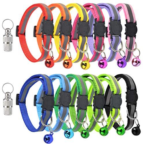 baotongle 12 Stück Katzenhalsband mit Glocke und sicherheitsverschluss,reflektierend,ID-Halsbänder für Welpen, Hunde, Katzen, verstellbar 20–30 cm