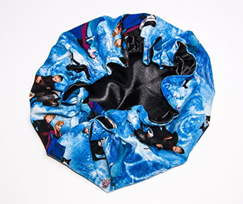 (KIDS FROZEN, BLACK) lined HANDCRAFTED Reversible Kids and toddlers Satin Bonnet will fit AGE 12 Months to 10 years - (MADE IN USA)