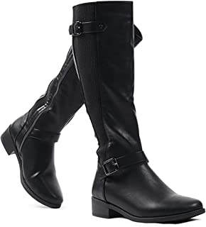LUSTHAVE Womens Marilyn Chunky Buckle Slouchy Knee High Heel Boots