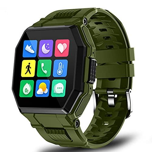 2021 Luxury Military Sport Men's Smart Watch Men Pantalla Completa Toque Presión Arterial Monitor De Frecuencia Cardíaca Bluetooth Llamada Smartwatch(Color:Azul)