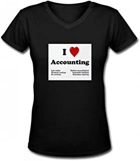 トップス 私は会計を愛する Women V Neck T-Shirts レディーズ Tシャツ