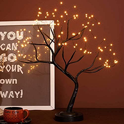 FUCHSUN Led Bonsai Tree Light Artificial Light Tree,Battery/USB Operated 6 Hrs Timer,Adjustable Branches, for Home Decoration Night Light and Gift (Black)