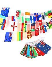JZK 50 Metros Banderas de Mundo 200 Banderas países, banderitas internacionales, banderines Tela guirnaldas para decoración Fiesta Jardin